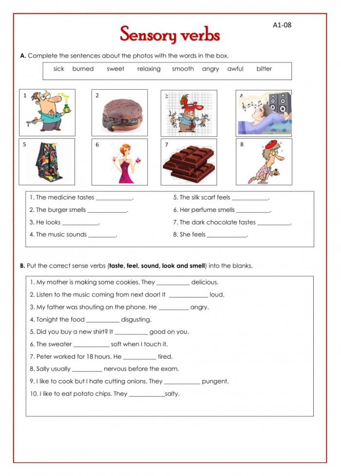 Sensory Verbs Worksheet
