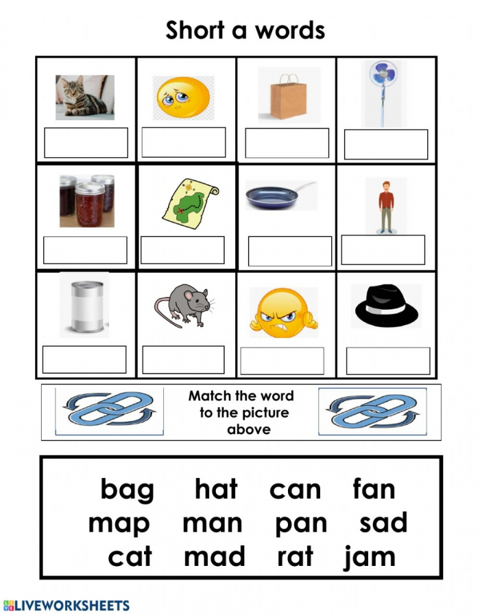 Short A Word Box Worksheet