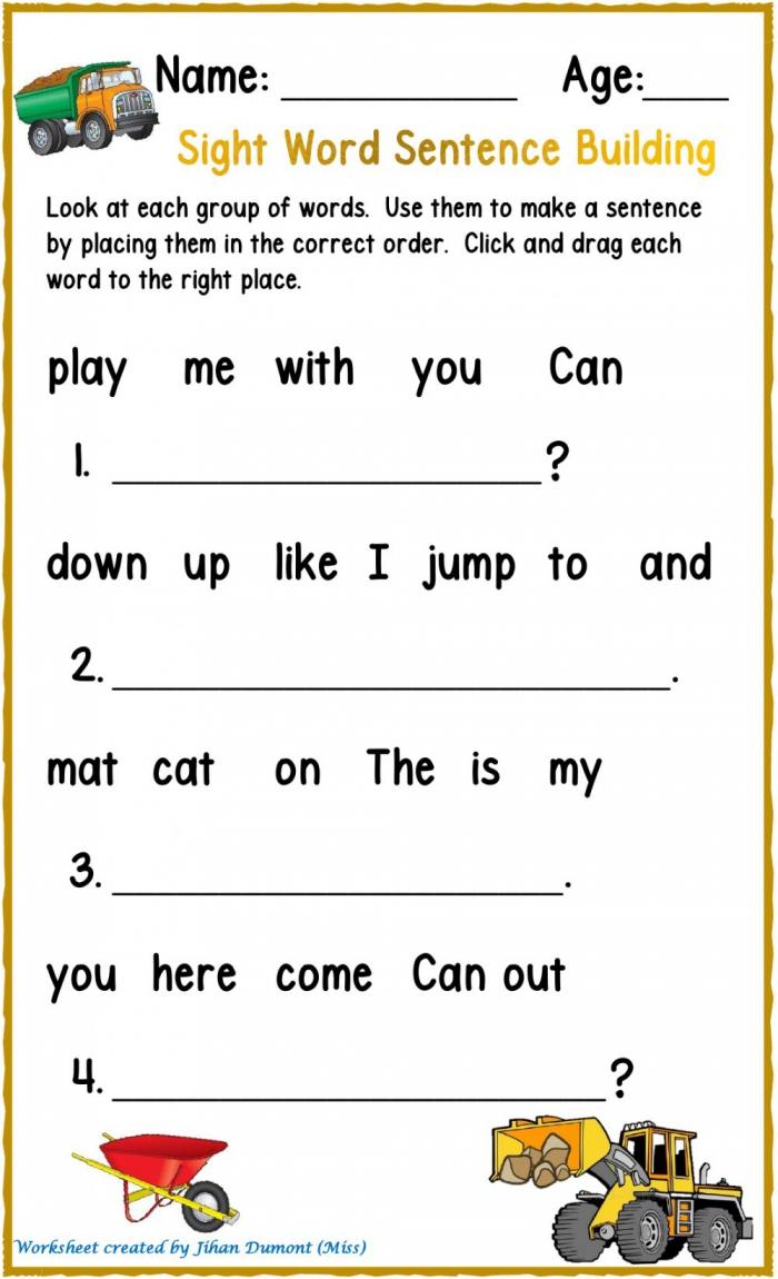 Sight Word Sentence Building Worksheet