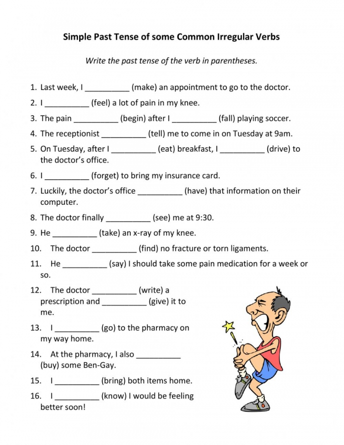 Simple Past Tense Of Some Common Irregular Verbs Worksheet