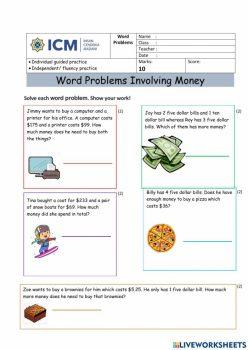 Adding Money Word Problems