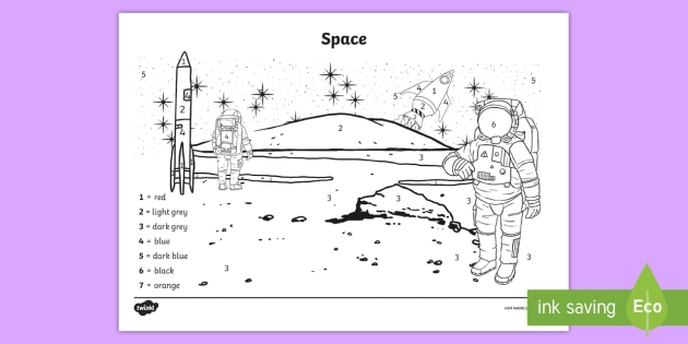 Space Scene Color By Number