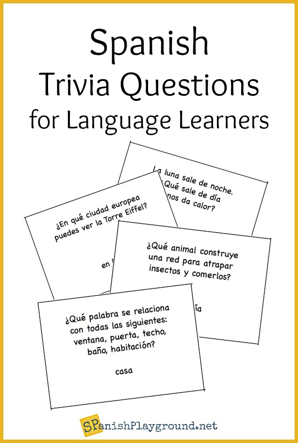 Spanish Trivia Questions Printable Cards