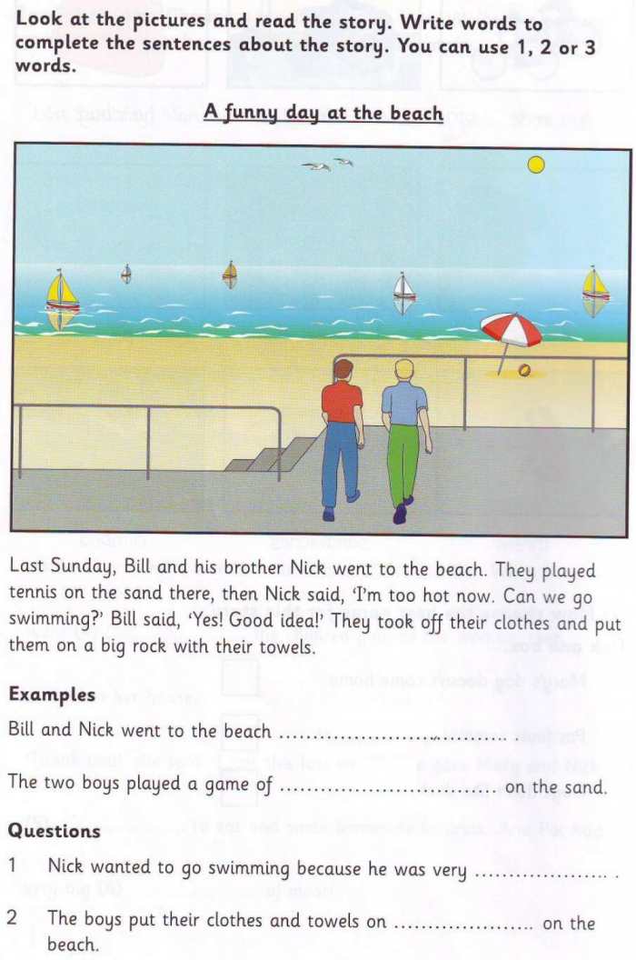Story A Funny Day At The Beach Worksheet