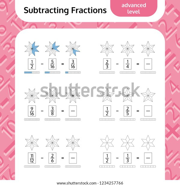 Subtracting Fractions Mathematical Worksheet Stars Coloring Stock
