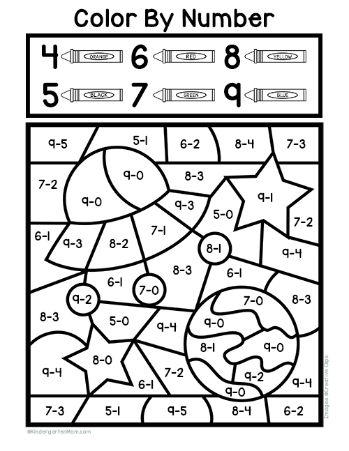 Subtraction Color By Number Worksheets
