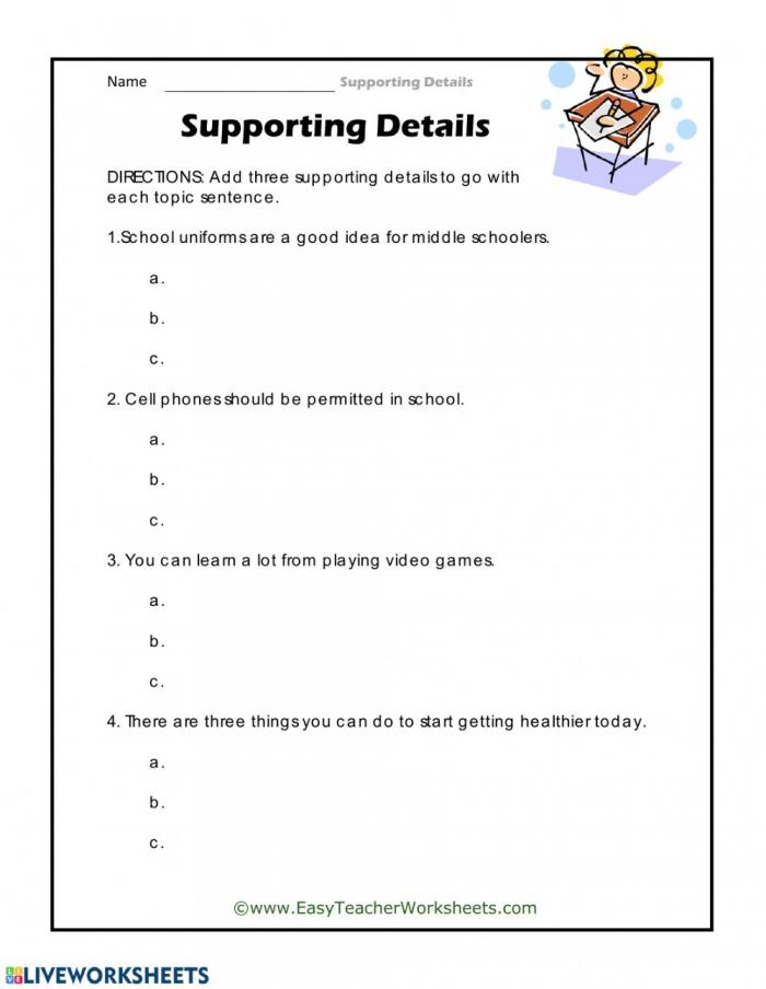 Supporting Details Worksheet