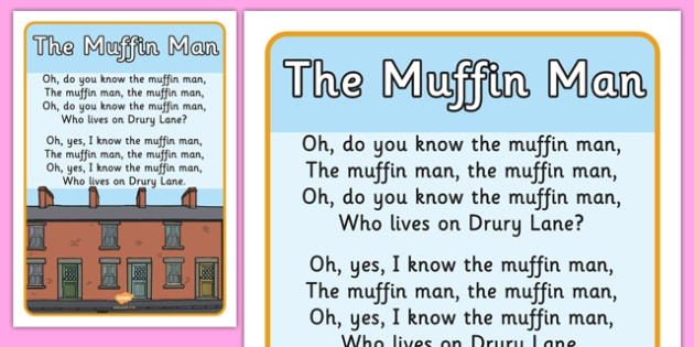 The Muffin Man Nursery Rhyme Display Poster