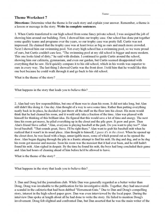 Theme Worksheets