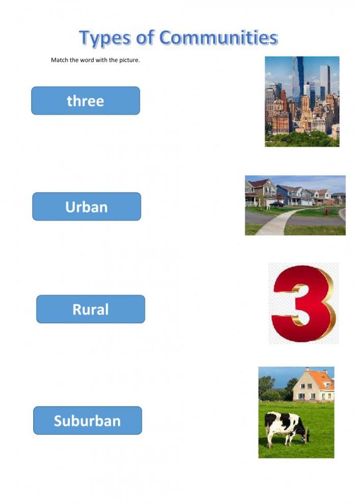 Types Of Communities Worksheet