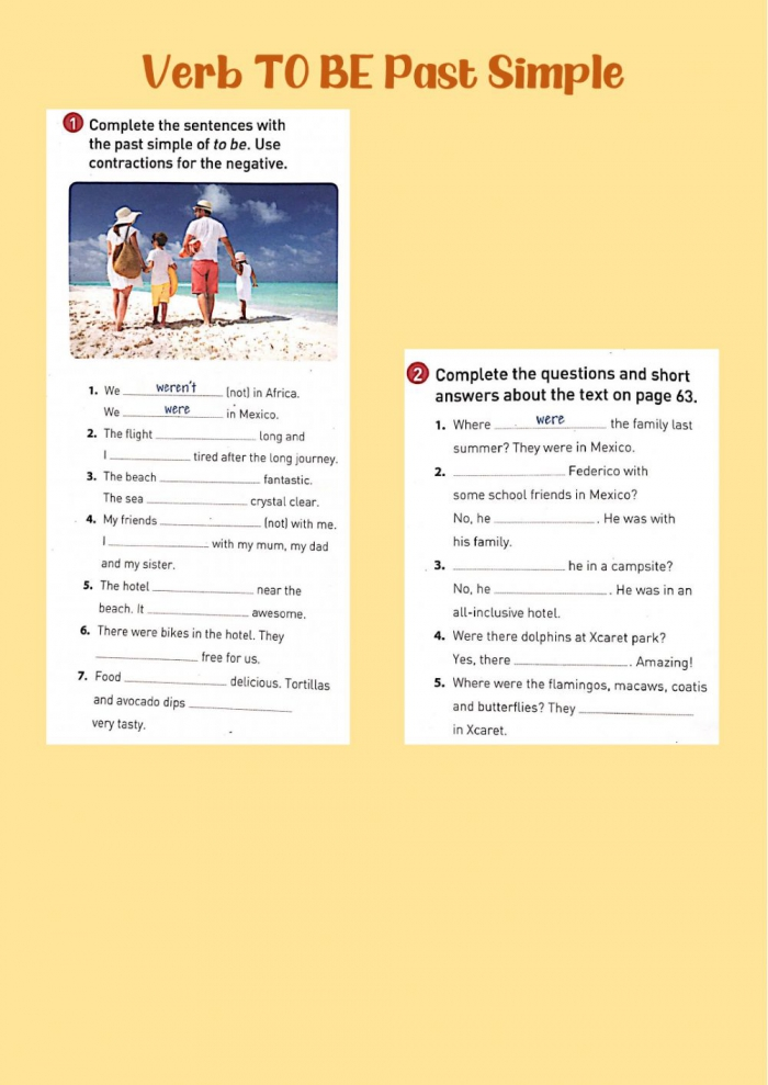 Verb To Be Past Simple Interactive Worksheet