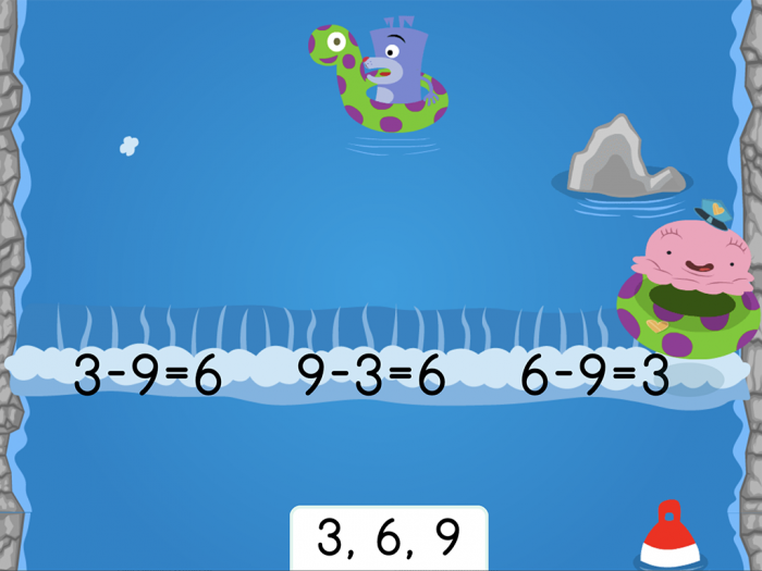Water Rafting Subtraction Fact Families Within