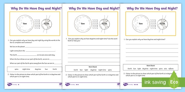 Why Do We Have Day And Night Differentiated Worksheets