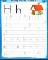 Writing Practice Letter H Printable Worksheet Stock Vector